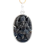 Blue Sapphire Mahakali in silver pendant - V