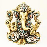 Brass Lord Ganesha Idol with decorative Work - Design III