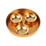 Brass tray with offering bowls