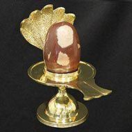 Brass Yoni base with Narmada Shivling - XXVI