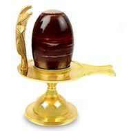 Brass Yoni base with Narmada Shivling - XXXIV
