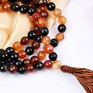 Brown Agate faceted mala - 8 mm