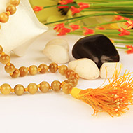 Brown Cats eye round mala - 6mm