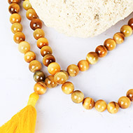 Brown Cats Eye round mala - 8 mm