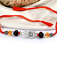 Citrine and Red Sandal beads Rakhi with pure silver accessories in thread