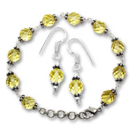 Citrine Faceted Bead Bracelet-Earrings Set