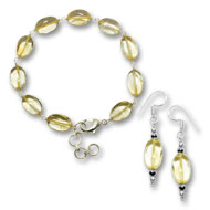 Citrine Oval Bracelet-Earring Set