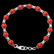 Coral Bracelet in pure silver