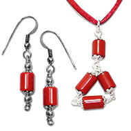 Cylindrical Coral Pendant-Earring Set - Design I