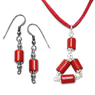 Cylindrical Coral Pendant-Earring Set - Design II