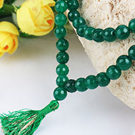 Dark Green Agate Faceted mala - 8mm