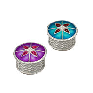 Designer Floral Haldi Kumkum Container in Silver - Set of 2 - I