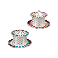 Designer Haldi Kumkum Container in Silver - Set of 2