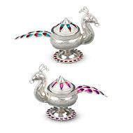 Designer Peacock Haldi Kumkum Container in Silver - Set of 2