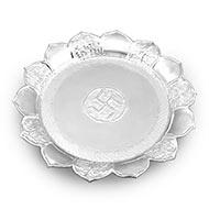 Designer puja plate in pure silver