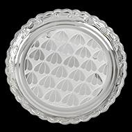 Designer puja plate in pure silver - I