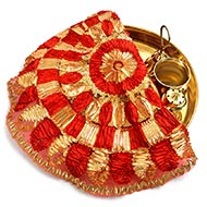 Designer Puja Thali cloth Covers - III