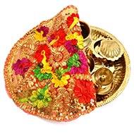 Designer Puja Thali cloth Covers - Small - I