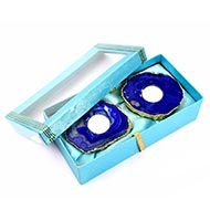 Blue Agate Stone Festive Wax Holder candle (Set Of 2)