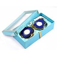 Blue Agate Gemstone Diya with wax candle (Set Of 2)