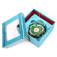 Green Agate Stone Diya with Wax Candle