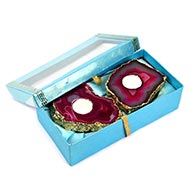 Pink Agate Stone Festive Wax Holder candle (Set Of 2)