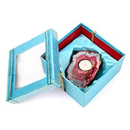 Pink Agate Stone Diya with wax candle
