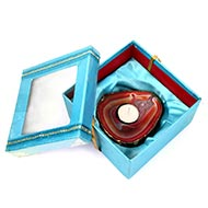 Red Agate Stone Diya with Wax Candle