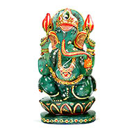 Exotic Ganesh Idol in Green Jade - 1.373 Kgs