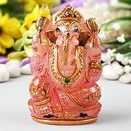 Exotic Ganesh Idol in Rose Quartz-401 gms