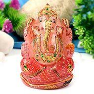 Exotic Ganesha Idol in Rose Quartz-415 gms