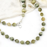 Faceted cats eye with silver balls - 7mm