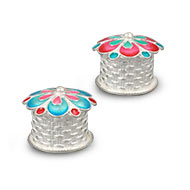 Florally Designed Haldi Kumkum Container in Silver - Set of 2