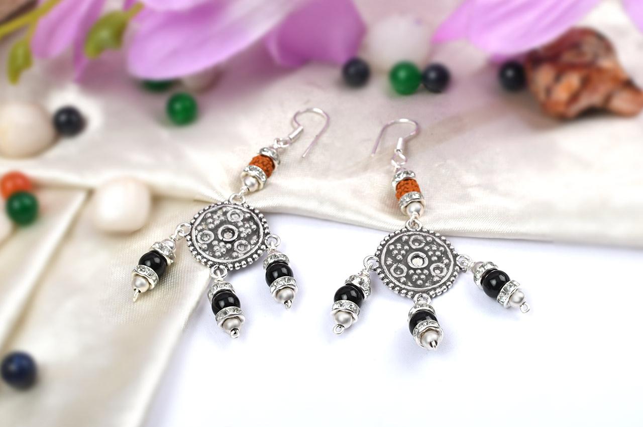 Rudraksha Black Agate Earrings - I