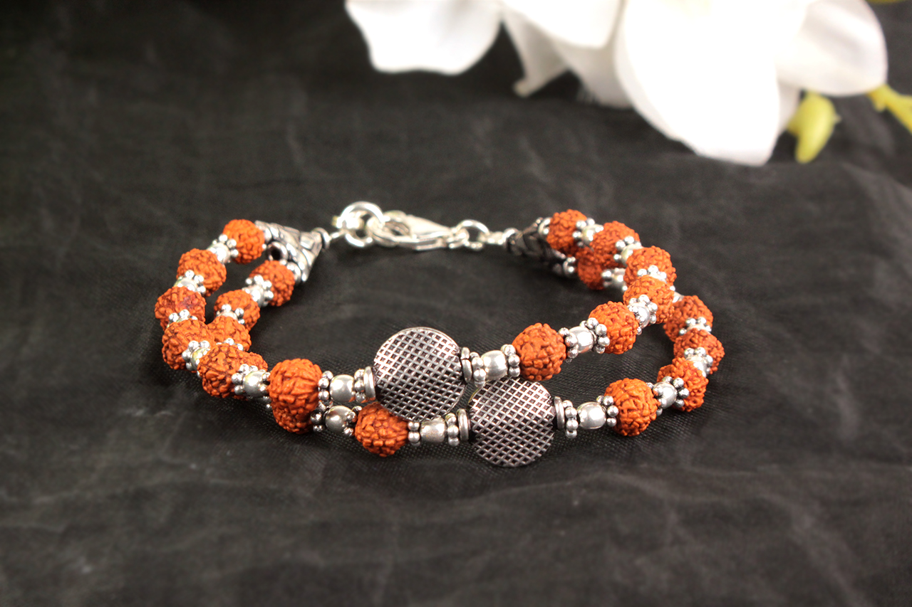 Rudraksha Bracelet with Two Turns in Strong Thread with Silver Beads and Spacers