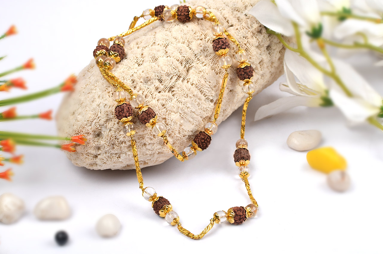 Rudraksha and Crystal Beads in pure gold