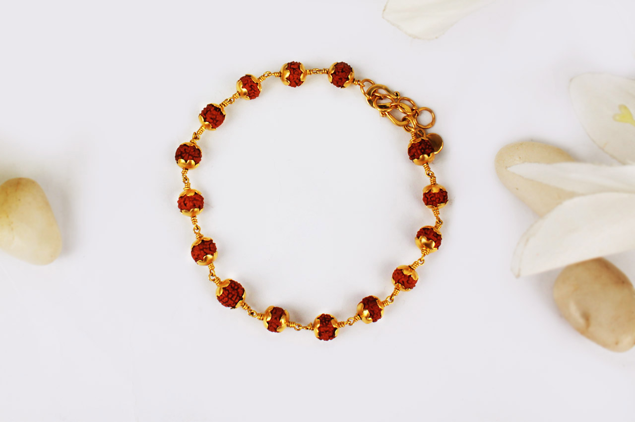 Rudraksha punchmukhi Bracelet with pure gold flower caps