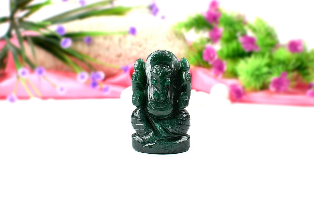 Green Jade Ganesha-Right Trunk-100 gms