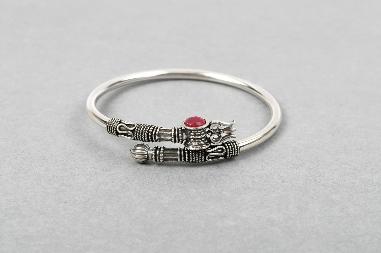 Trishul Designer Kada in Pure silver