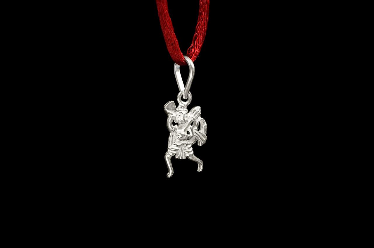 Hanuman locket in pure silver - Design IV