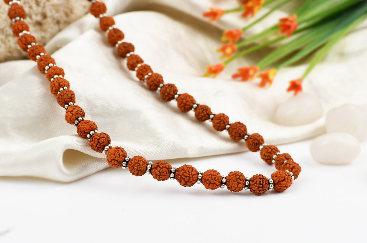 Rudraksha mala- 6mm with silver flowers