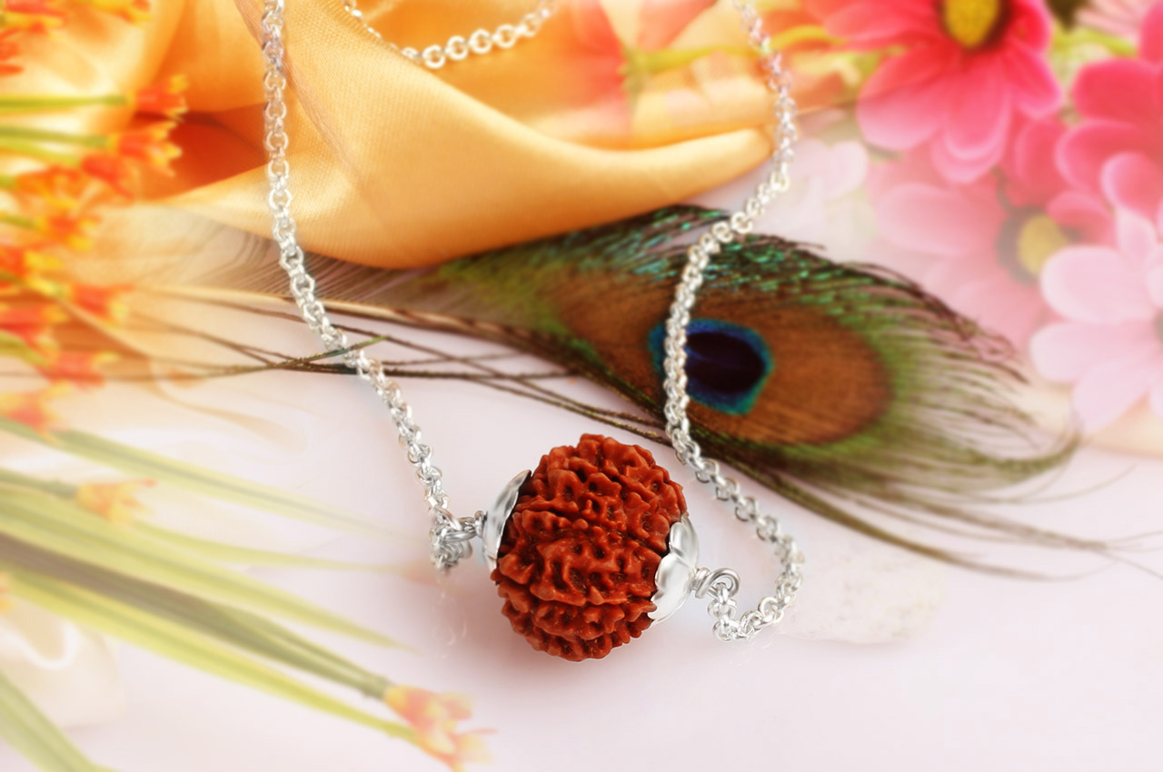 Buy durga power rudrksha pendant durga power rudraksha bracelet durga power pendant in silver caps and chain ns mozeypictures Image collections
