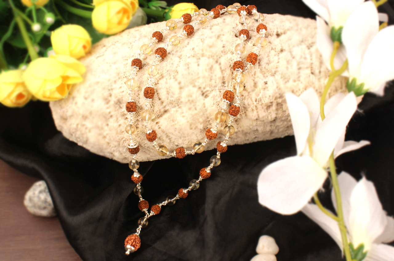 4 mukhi Java mala with Citrine beads in flower caps