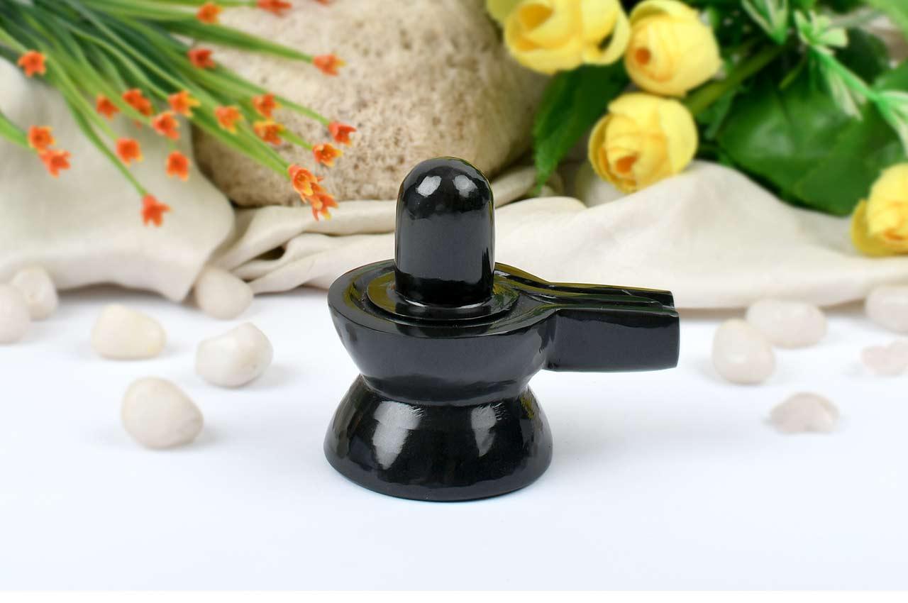 Black Agate Shivling - 176 gms