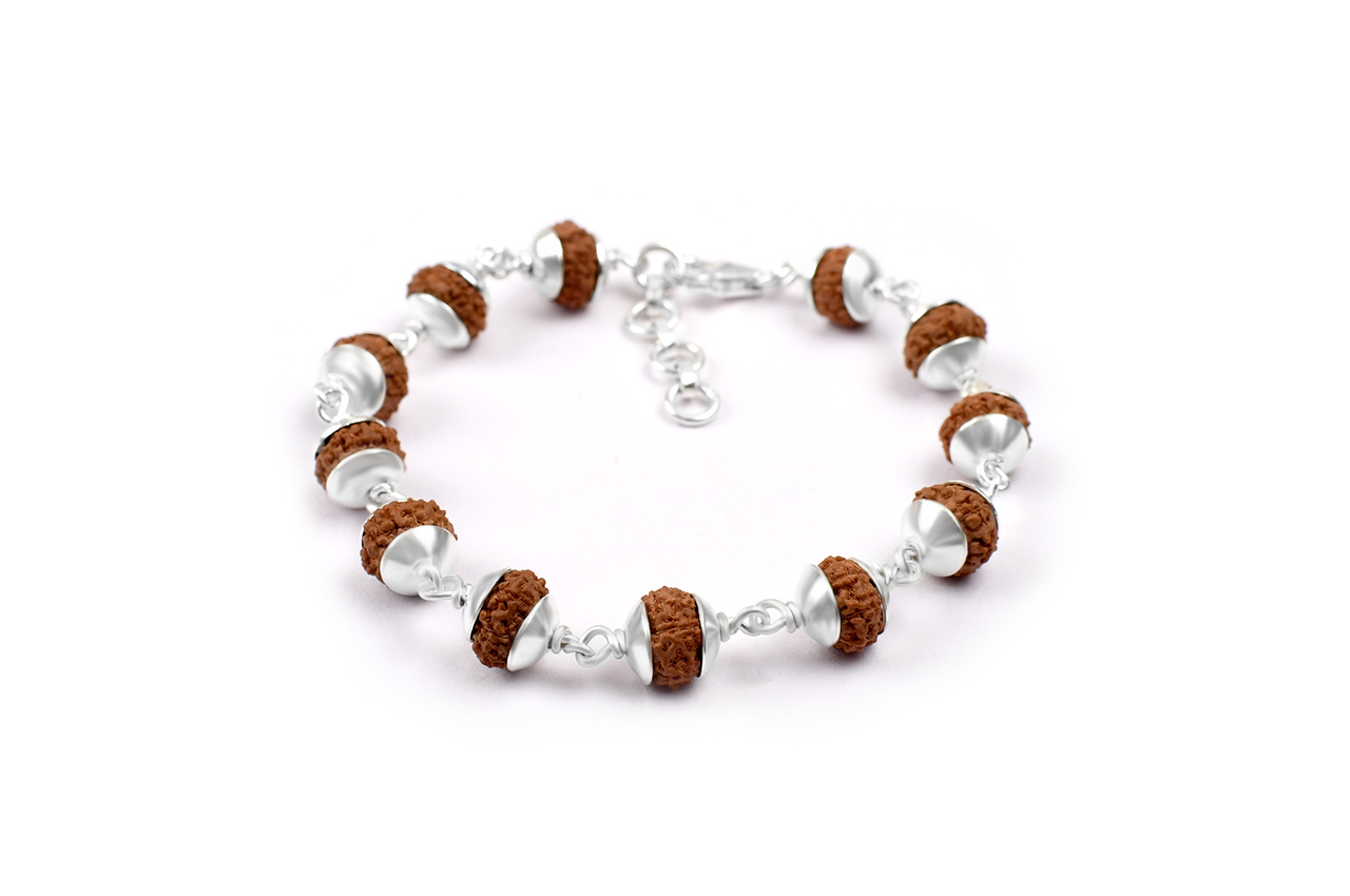 10 mukhi Narayan bracelet from Java with silver caps
