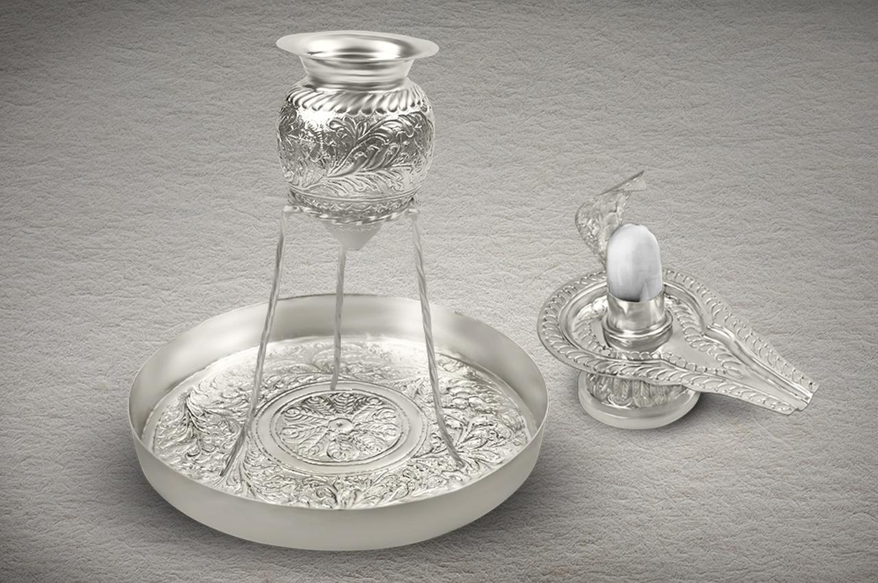 German Silver Abhishekam Set with Shivling