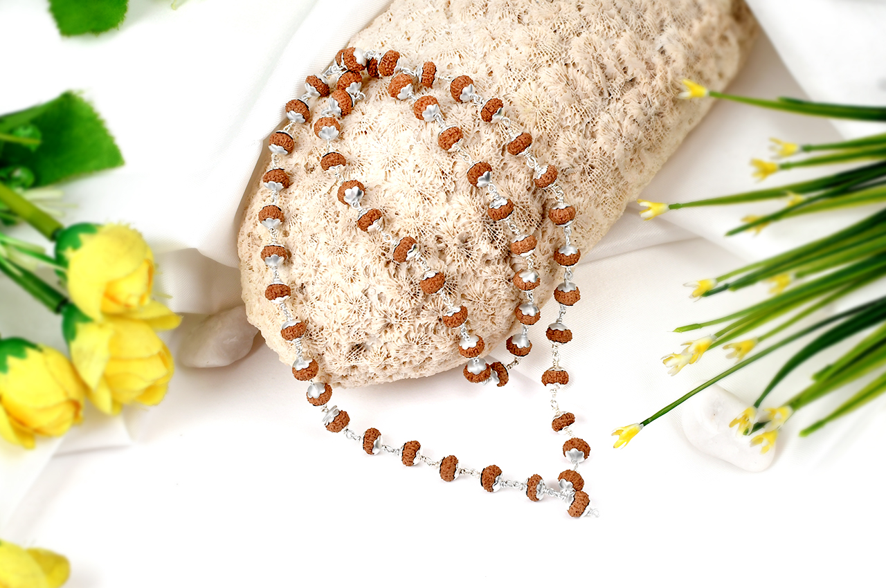 Durga Shakti Mala Tiny beads in Silver Caps