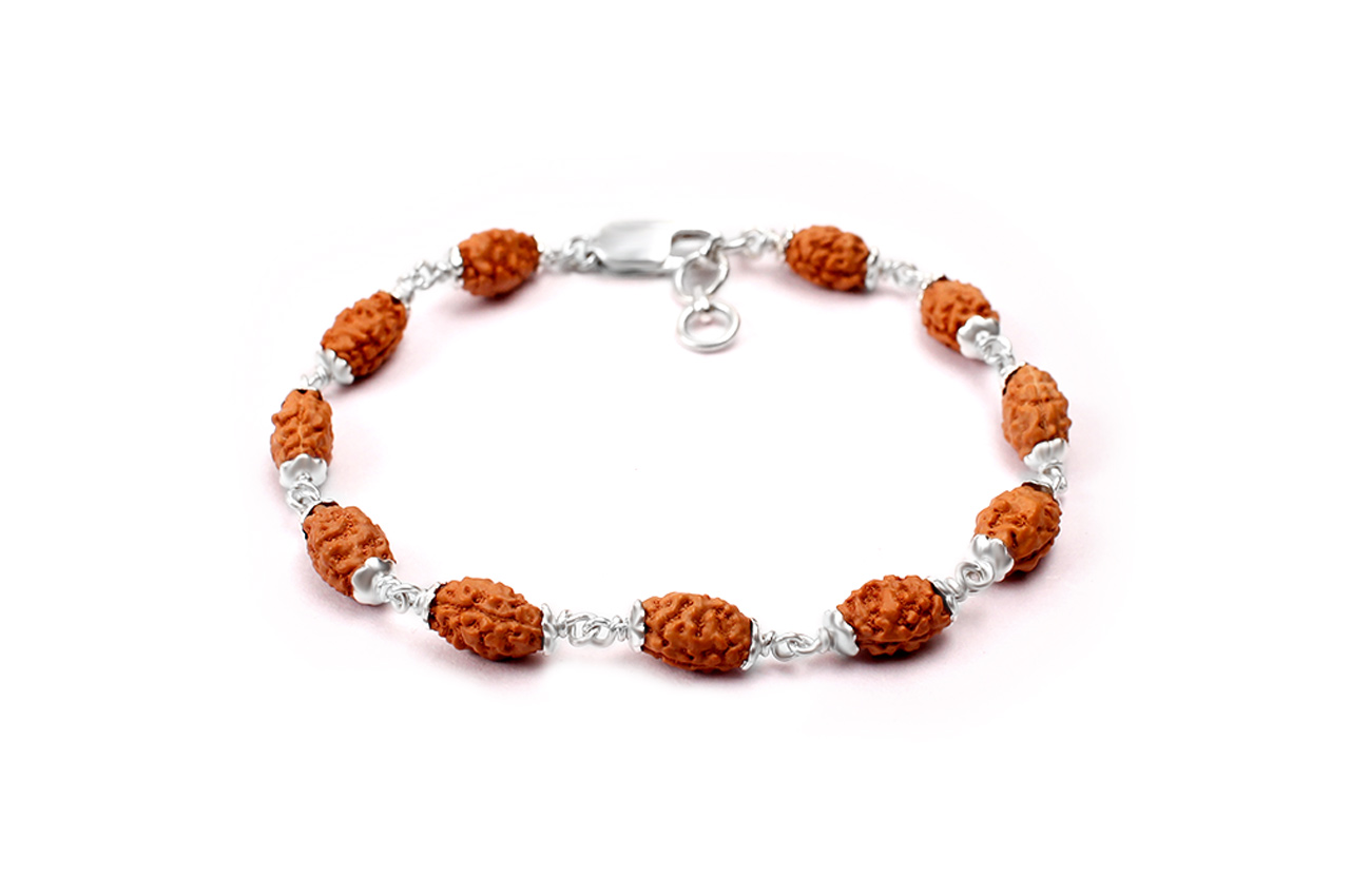 2 mukhi Moon bracelet from Java with silver caps