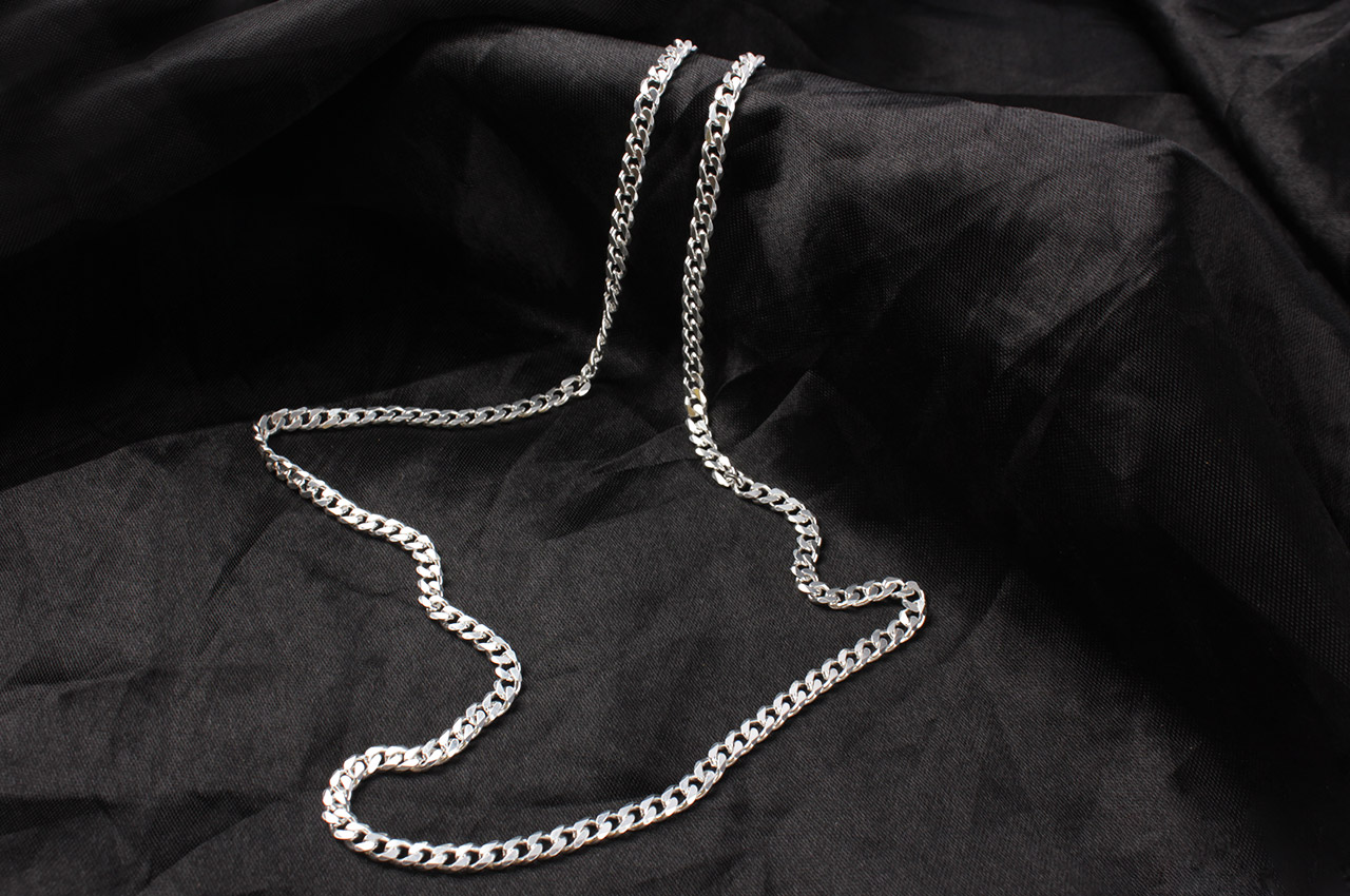 Flat link silver chain - IV