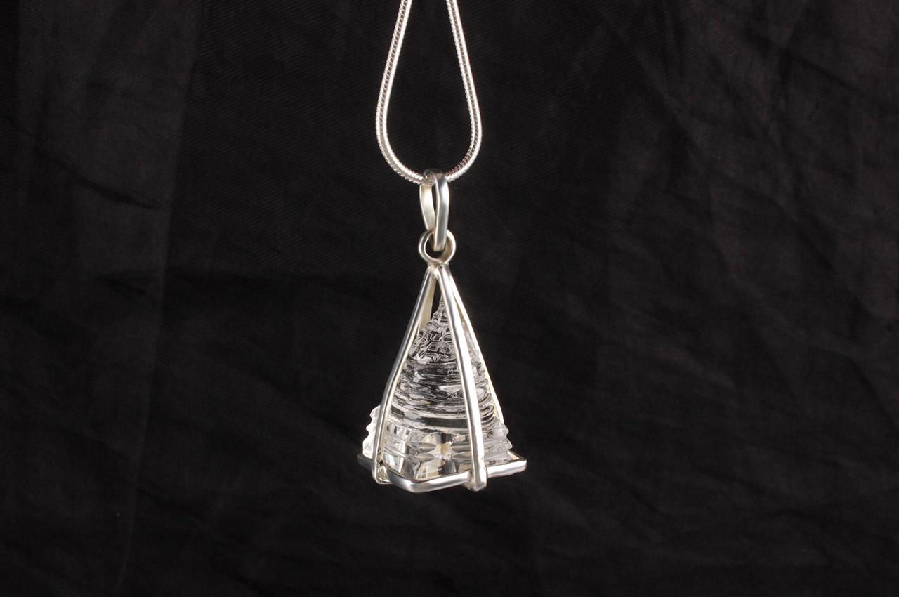 Crystal ShreeYantra locket in silver chain